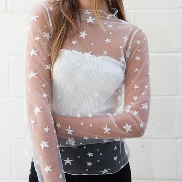 isabelle's cabinet Rebel Star Mesh Top - white - Tops + Bodysuits - Clothes