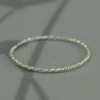 Tinsel Ring--Tiny Sterling Silver Textured Stacking Ring--Sterling Silver Round Diamond Cut Band--Thin Stack Ring--Custom made in YOUR size