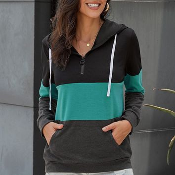 Casual Green Color Block Zipped Neck Hoodie