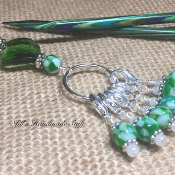 Stitch Marker Holder & Snag Free Removable Stitch markers- Crochet Gift- Tools- Green Stitch Marker Organizer
