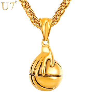 U7 I Love Basketball Palm Pendant Necklace Rock Hip Hop Stainless Steel Sport Necklaces Fans Men Jewelry P1120