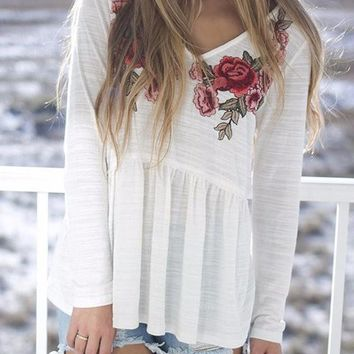 White Floral Print Draped Embroidery V-neck Long Sleeve Fashion T-Shirt