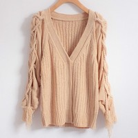 Retro loose knit sweater cardigan coat
