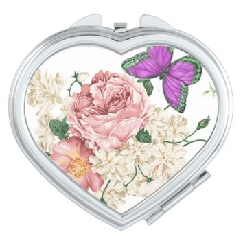 pretty vintage floral butterfly compact makeup mirror