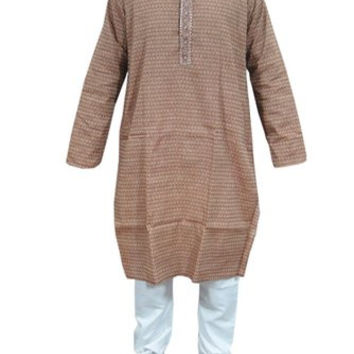 Mogul India Men's Kurta Pajama Sets with Embroidery on Neck, Gift for Him