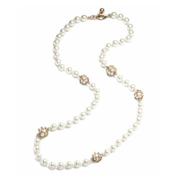 Lulu Frost Long Lustre Glass Pearl with Pave Cage Swirl Necklace