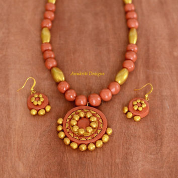 Orange / Gold Polymer clay necklace set **Free US shipping** Terracotta necklace set,