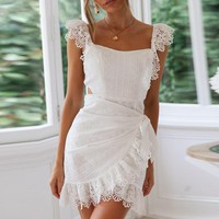Lace Backless Dress Women Sexy Elegant Bodycon Party Dress Embroidery Hollow out Short Mini Dress