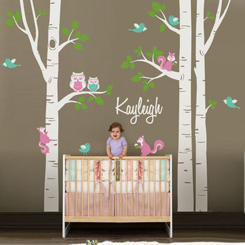 Nursery Tree Vinyl Wall Sticker Personalized Name, Cute Owl Squirrel Wall Decals Wall Stickers for Kids Rooms Baby Room Decor