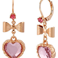 ROSE GOLD HEART BOW DROP EARRING