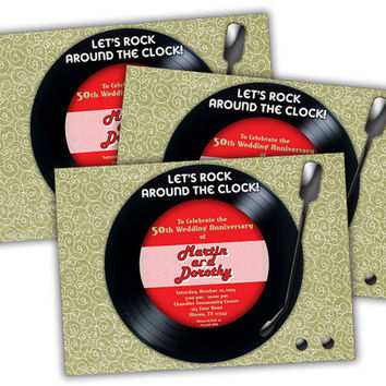 Vinyl Record Golden Anniversary Party Invitations - Retro 50th Wedding Anniversary Vow Renewal- Record Invitation - gold 50th custom color