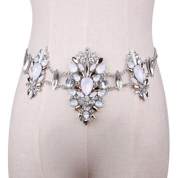 Women Crystal Rhinestone Bling Statement Body Waist Chain Belt Clubwear