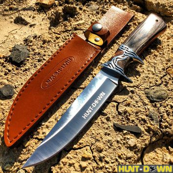 """12"""" Hunt-Down Black/Brown Sporting Knife With Leather Sheath"""