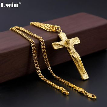 Uwin Men's Stainless Steel Gold Color Jesus Cross Christ Crucifix Pendant With 5mm Cuban Chain Necklace Fashion Hip Hop Jewelry