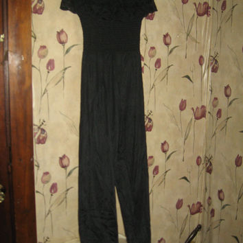 Vtg 70s Black nylon Straples Harem Smocked Jumpsuit Catsuit Lounger Romper size large