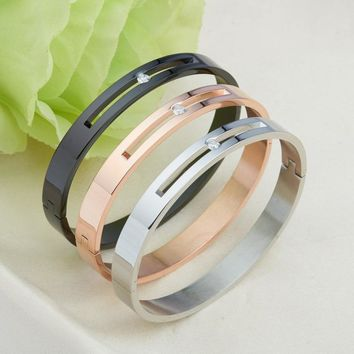 Polished Hollow Crystal Stainless Steel Love Carter Bangle Cuff Bracelet for Women by Ritzy