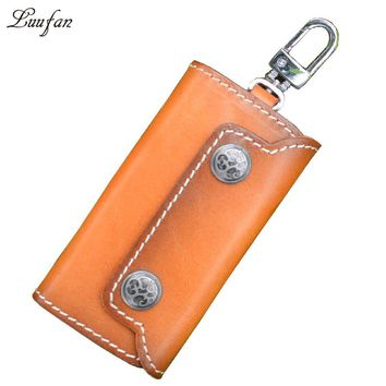 Genuine cow Leather Housekeeper Holders durable cowhide candy Car Keychain Key Holder Case short Wallet Cover