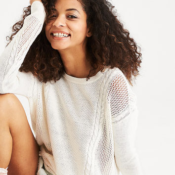 AEO Mixed Stitch Cable Sweater, Cream