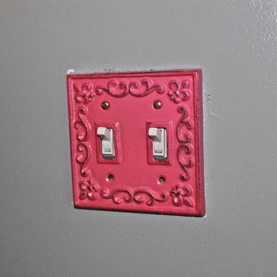 Pink decorative light switch plate from aquaxpressions on for Unique light switch plates