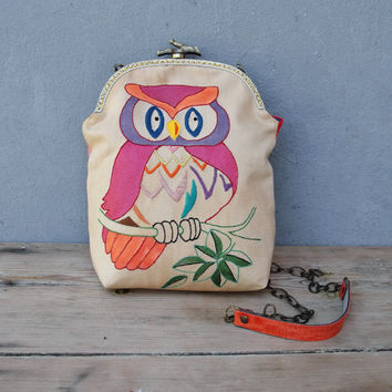 Happy Owl Bag Vintage Embroidery, Rainbow, Linen, Kiss-lock