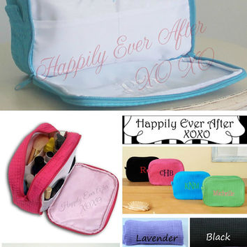 Monogram 2 Compartment Cosmetic Bag Custom Embroidery  Wedding Party Gift Bride, Maid Of Honor, Bridesmaid Gift