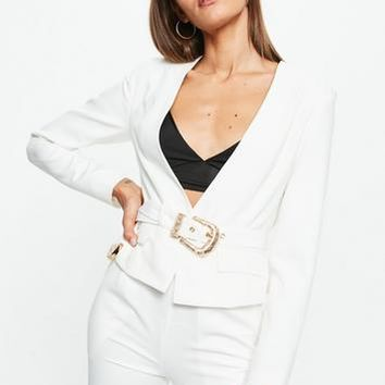 Missguided - White Cropped Western Belt Blazer
