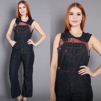 70s LEVI'S DENIM OVERALLS / 1970s Dark Blue Fitted Bell Bottom Jumpsuit xs