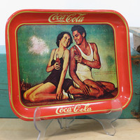 Vintage Coca Cola Reproduction Metal Tray . Maureen O'Sullivan & Johnny Weissmuller . 1930s Movie Stars