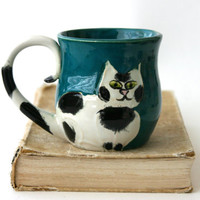 Cat Lady Mug - Black and White Kitty - Hand Thrown Ceramic Coffee Tea Cup
