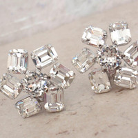 Crystal Rhinestone Earrings Emerald Cut Clip On Vintage