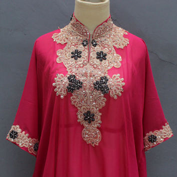 Pink Caftan Dress Sequin Embroidery Petite Chiffon Wedding Kaftan Summer Party Maxi Dress