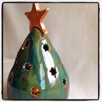 Handmade Ceramic Green Christmas tree ornament with star on top OOAK pottery table top decor tea light candle decoration