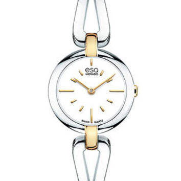 ESQ Movado Womans Corbel Bangle-Style Watch - White Dial - Gold-Tone/Stainless