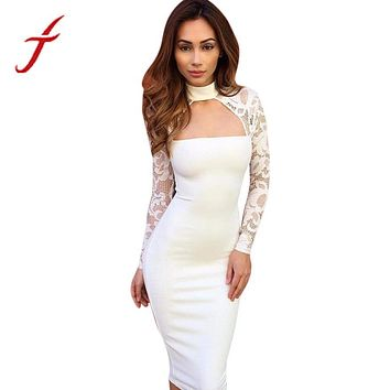FEITONG Lace Hollow Out Women Dress 2018 Black White Long Sleeve Choker Dress Ladies Formal Cocktail Party Bodycon Dress