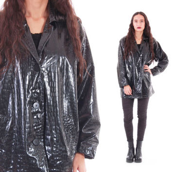 Textured  Black PVC Coat Shiny Wet Look Plastic Raincoat 90s Vintage Goth Club Kid Raver Clothing Womens Size Large