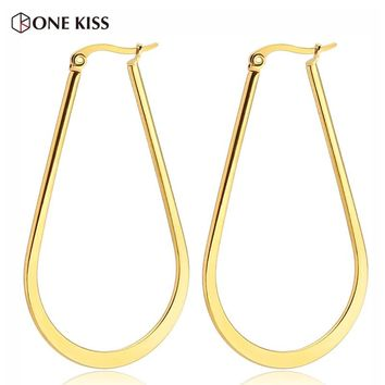 Trendy Big Geometry Gold Color Hoop Earrings For Women Simple Glossy Oval Stainless Steel Earring Fashion Jewelry Gift 50MM