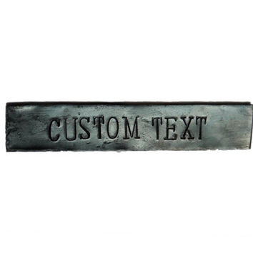 Custom text sign, forged - Personalized, industrial, rustic name plate - forged iron steel metal hammered plaque