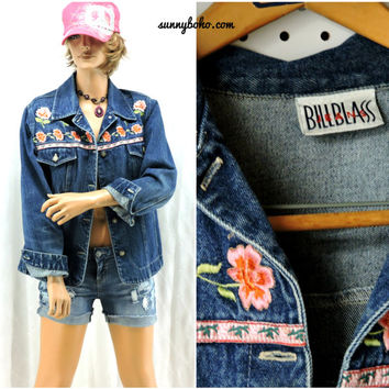 90s denim jacket M embroidered floral jean jacket 1990s Bill Blass boho hippie denim jacket SunnyBohoVintage