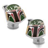 Men's Cufflinks, Inc. 'Star Wars - Boba Fett' Cuff Links - Green/ Silver