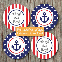 Nautical Baby Shower Decoration Anchor Ahoy its a Boy Navy Blue Red Printable Nautical Shower INSTANT DOWNLOAD 220