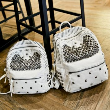 Studded Rivets Soft Leather Backpack Travel Bag