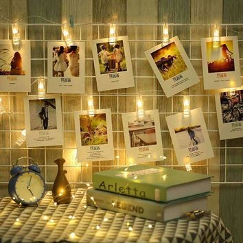 ANBLUB 1M 10LEDs 2M 20LEDs Photo Card Wall Clip Fairy LED String Light Home Christmas Holiday