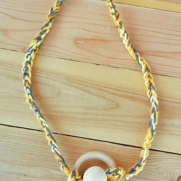 Crocheted Necklace-Yellow Grey with 100% cotton yarn with a natural wood Beads and ring * One size Fits Most