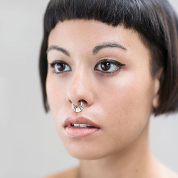 Septum Ring - Sterling Silver Nose Ring - Steps Septum Ring - Septum Clicker