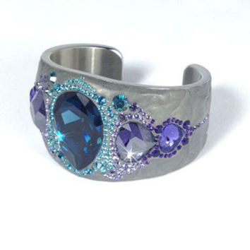 Swarovski Crystal PONY BANGLE Cuff Ocean Blue & Purple Crystals 1110336