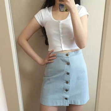 High Rise Denim Dress Vintage Skirt [4918705796]
