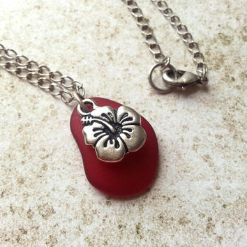 Red Hibiscus Flower Necklace, Eco Friendly Charm Necklace with Recycled Glass