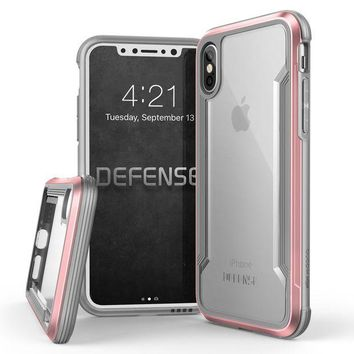 VONEXO9 iPhone X Case, X-Doria Defense Shield Series - Military Grade Drop Tested, Anodized Aluminum, TPU, and Polycarbonate Protective Case for Apple iPhone X, [Rose Gold]