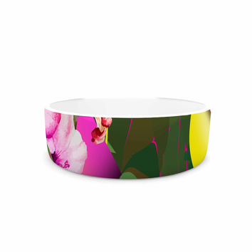 """Roberlan """"Almost Everything Collage"""" Green Yellow Abstract Vintage Pet Bowl"""