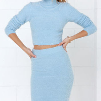 Fluff Around the Edges Light Blue Two-Piece Dress